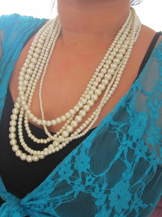 Long Pearl Necklace Chunky Multi Strand Necklace White or Ivory Pearls by SLDesignsHBJ