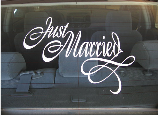 Just married car decal car sticker by glitter bug sa
