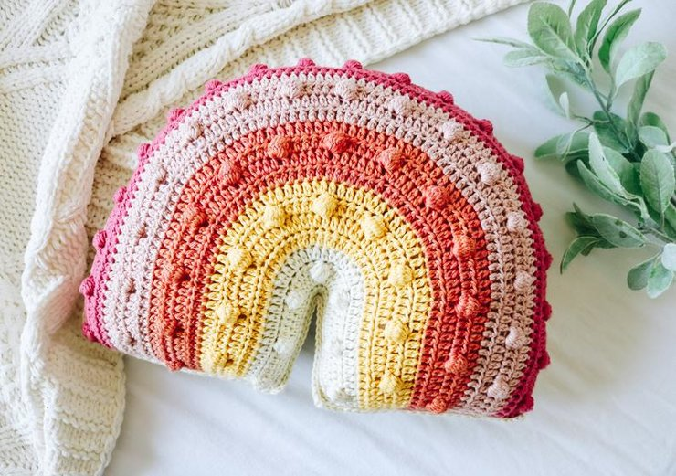 Handmade baby rainbow pillow by DVN creations
