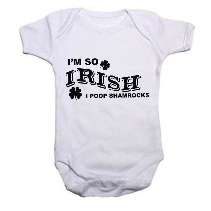I'm so Irish, i poop shamrocks baby grow by Qtees Africa (Pty)Ltd