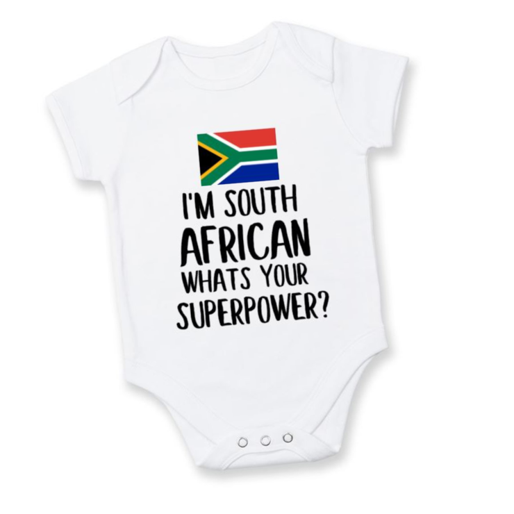 I'm South African Whats YOUR Superpower? baby onesie / Local is Lekker/ Baby Shower / Baby Gift / South African Baby Present  by Little Lion Cub Studio