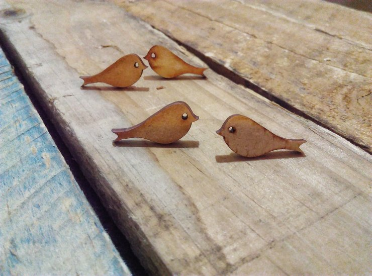 Little wooden bird stud earrings by Wonder Struck Inc