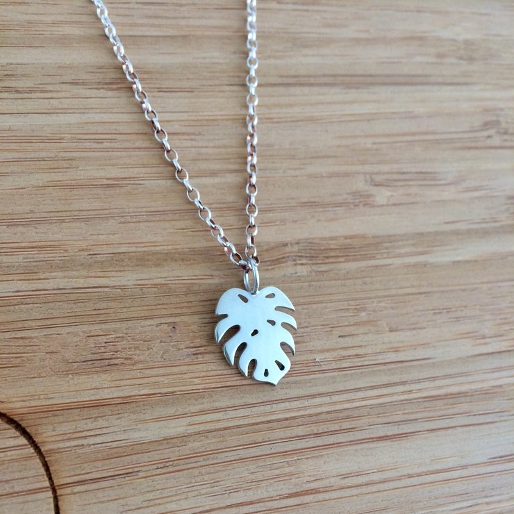 Handmade Sterling Silver - Monstera Deliciosa Small Pendant by Jessica Jane Jewellery
