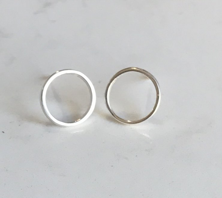 Skinny circle stud earrings by Trouver Jewellery