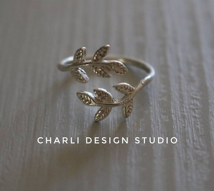 Sterling silver sizable leaf ring by Charli Design Studio