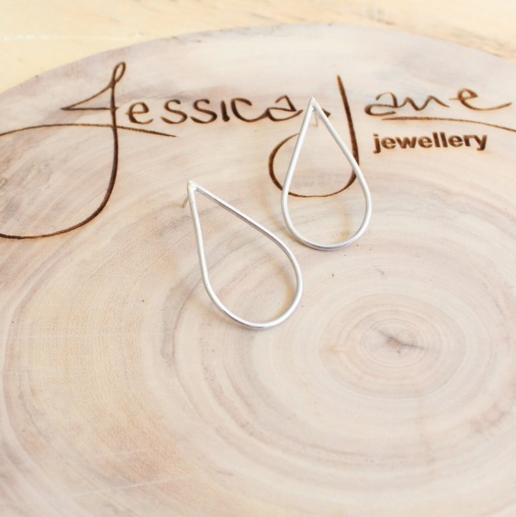 Handmade Sterling Silver : Big Teardrop Stud Earrings by Jessica Jane Jewellery