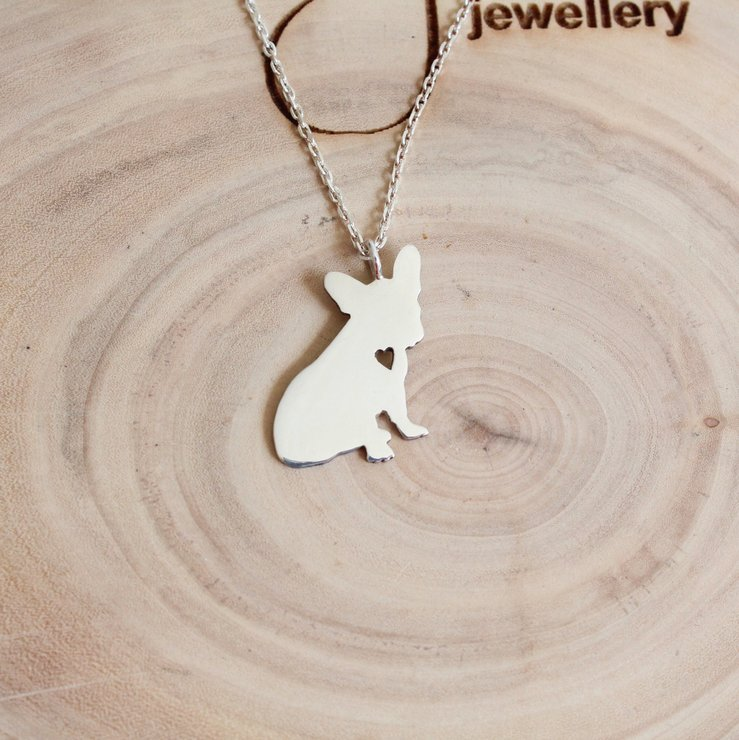 Handmade Sterling Silver - Stella the French Bull Dog Pendant by Jessica Jane Jewellery