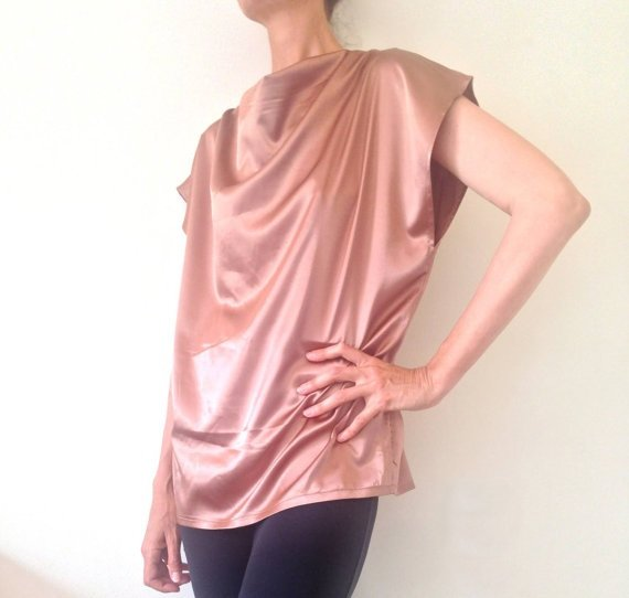 Plus size Cowl Neck Blouse, Plus size Top with Draped Neckline, Liquid Satin Top, Fuller Bust Top, one of a kind, made to order by Ant At Home