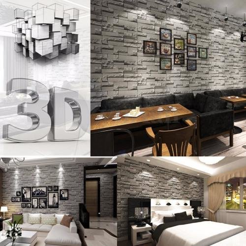 10m Brick Stone Effect 3d Wallpaper Wall Paper Roll Home