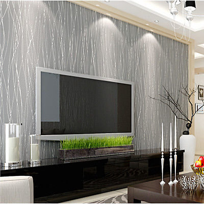 Luxury Flocking Non Woven Textured Lines Wallpaper Roll Living Room