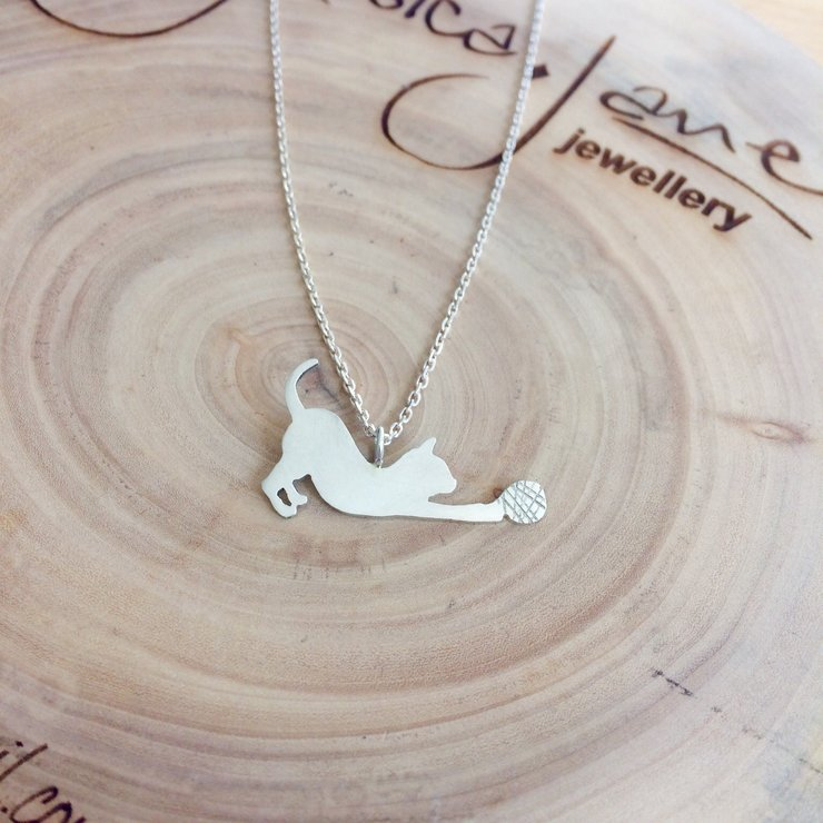 Handmade Sterling Silver - Kitty playing with wool Pendant by Jessica Jane Jewellery
