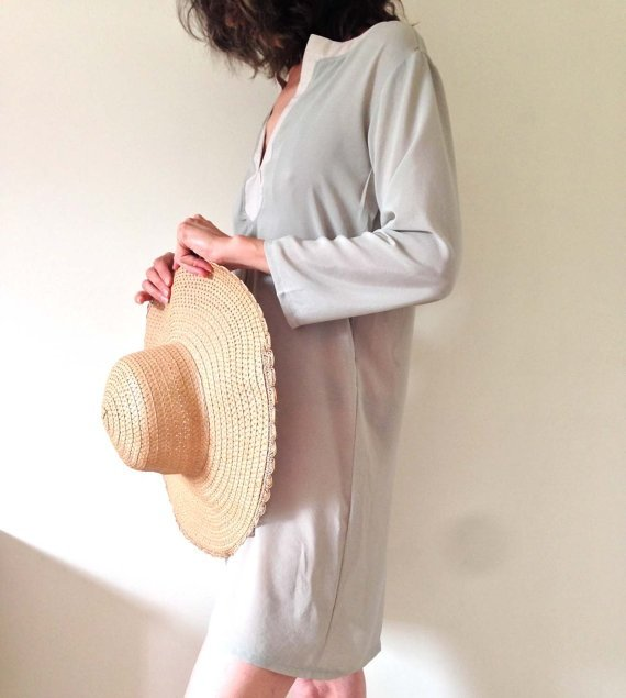 Mint Green Beach Dress, Boho Chic Dress, Loose fit Dress, Crepe Chiffon, one of a kind, ready to ship by Ant At Home