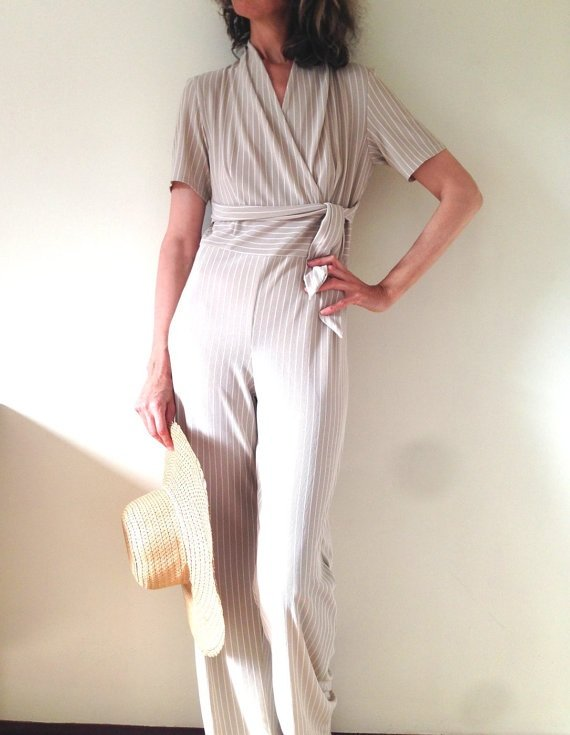 Short Sleeve Jumpsuit, Striped Evening Jumpsuit, Comfortable Jumpsuit, Easy-wear Jumpsuit, Unique, one of a kind, ready to ship by Ant At Home