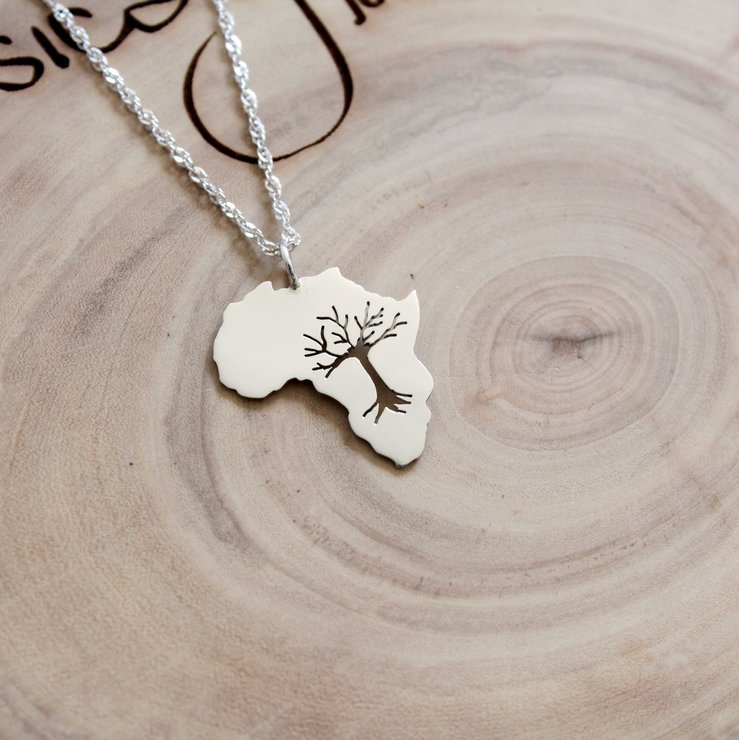 Handmade Sterling Silver Africa Tree Pendant by Jessica Jane Jewellery