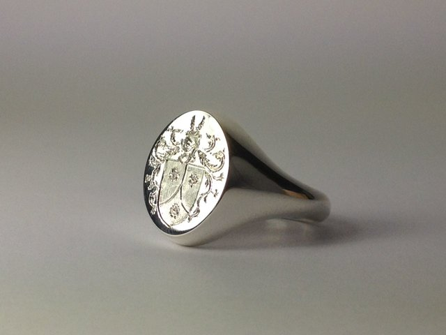 Silver Signet Ring with Custom Crest by Rollin Designs