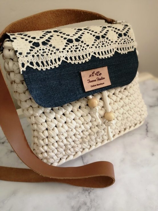Denim and Lace handbag by Finesse Studio online Boutique