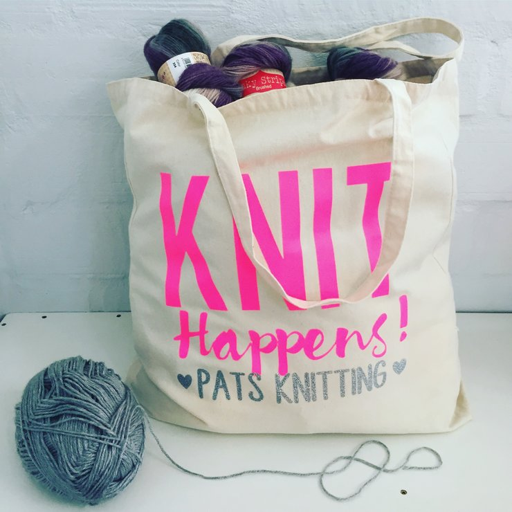 Knit Happens Cotton Tote Bag Custom Personalized by Love & Sparkles