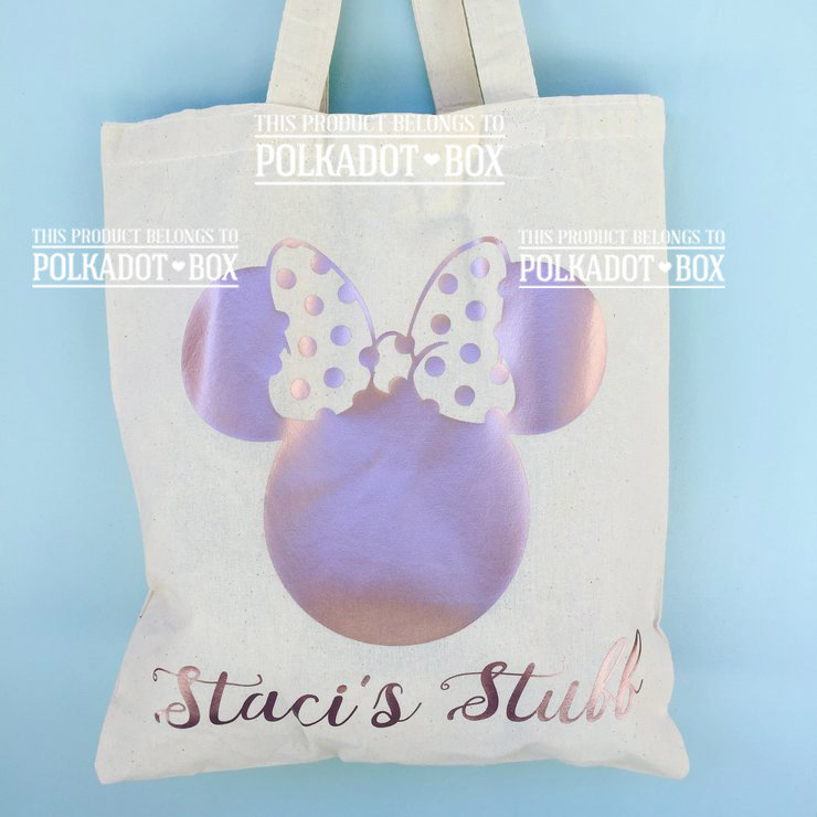 Custom Minnie Mouse Tote Bag by Polkadot Box