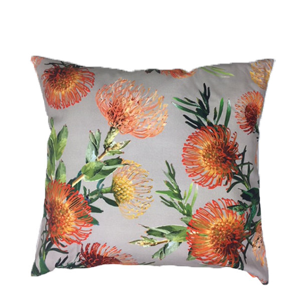 Orange Floral Beige Scatter Cushion 60cm x 60cm by Amore Home