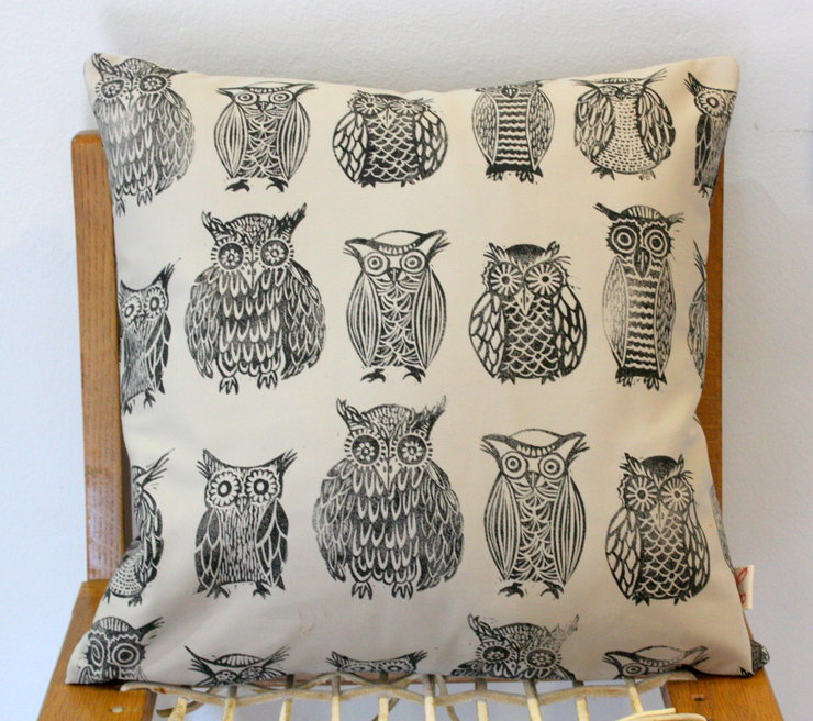 Cape Owl Collection hand block printed decorative scatter cushion cover by Kerry Cherry Designs and Prints