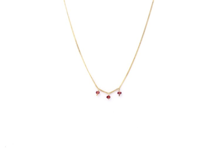 Gold plated silver 'trio' garnet choker by a ring to it