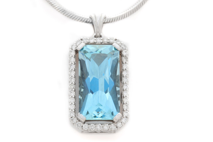 Aquamarine and Diamond Pendant  by Clayton Delville - Fine Gemstones and Jewellery