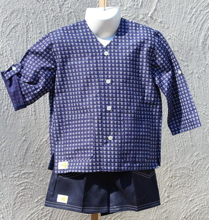 Blue and white African print shirt and short set for boys Age 3-4 by JaxStar Handmade Clothing and Home