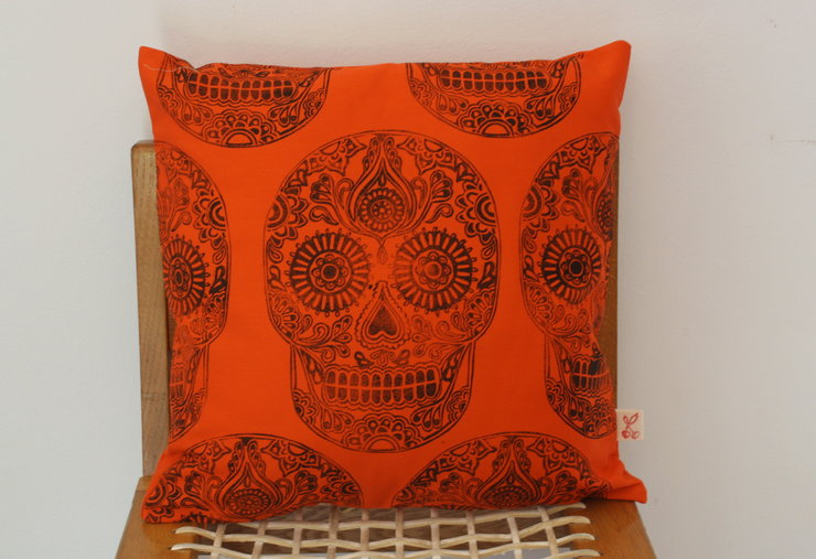 Sugar Skull decorative scatter cushion cover in orange by Kerry Cherry Designs and Prints