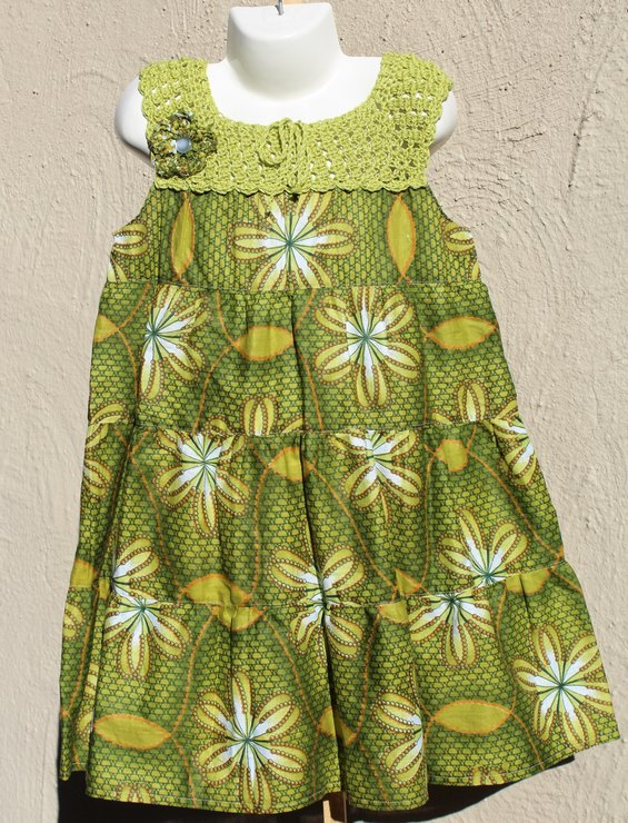 fb65eb57fc94a Green African print layered summer dress for girls Age 4 - 5 by JaxStar Handmade  Clothing