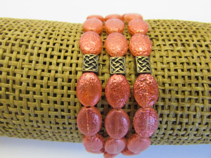 Red Beaded 3 Strand Bracelet by META After Abstraction (Pty) Ltd