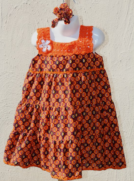 Bright orange African fabric summer dress for girls Age 3-4