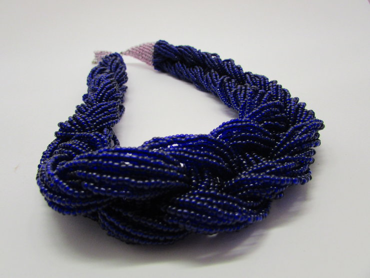 Chunky Blue with Pink Trim Necklace by META After Abstraction (Pty) Ltd