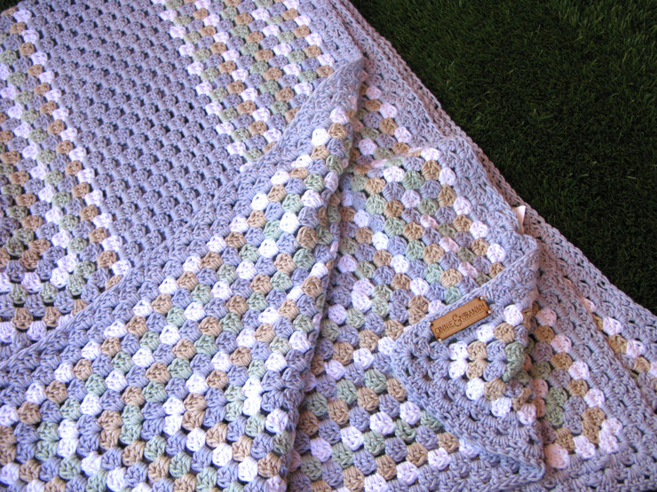 'The Sophia.' Blue Cotton Blanket by Annie & Granny