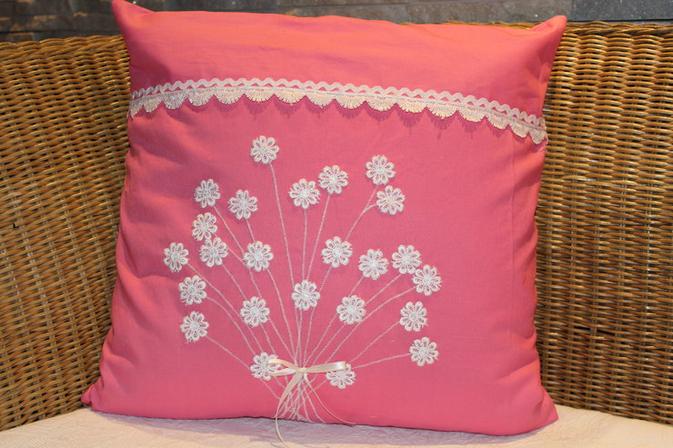 Pink Cushion Cover With Lace Flowers