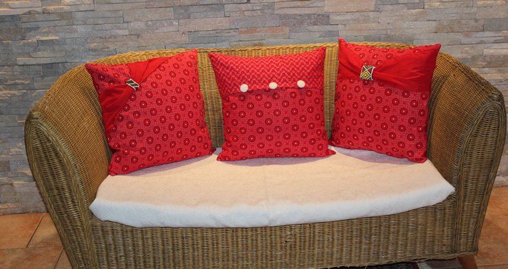 Red and white cushion cover  by JaxStar Handmade Clothing and Home