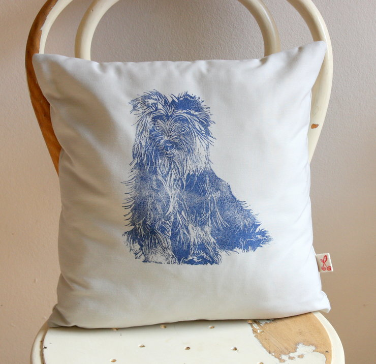Yorkie hand printed decorative scatter cushion cover by Kerry Cherry Designs and Prints
