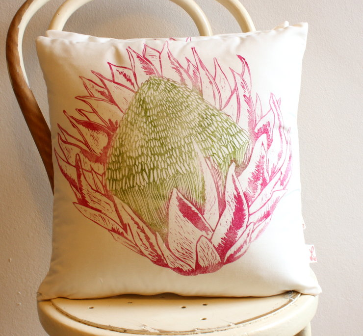 King Protea hand block printed cushion cover green and cerise by Kerry Cherry Designs and Prints