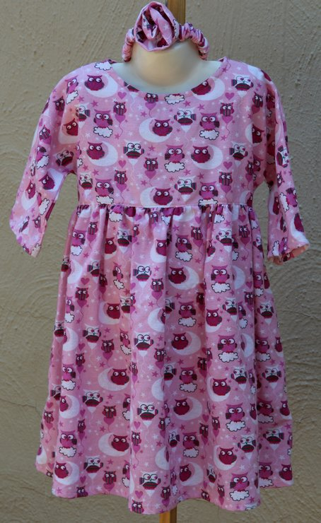 Pink winter dress with owl design Age 5 - 6 by JaxStar Handmade Clothing and Home