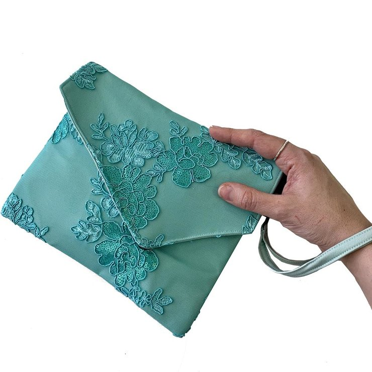 Mint Sequin Envelope Clutch Bag by Blackeyed Susan