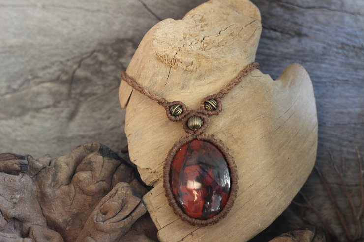 Macrame necklace with brecciated Jasper by Shackletons