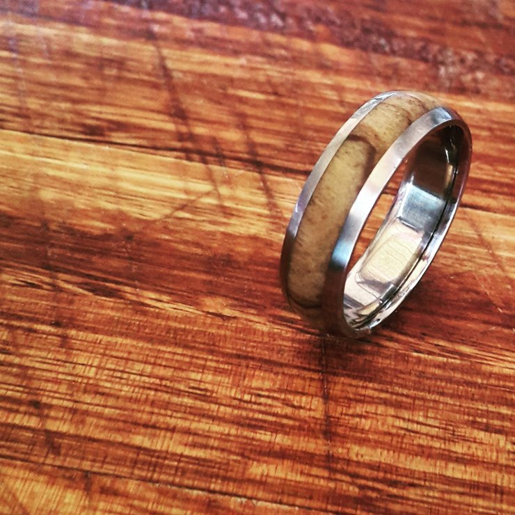 Titanium and Wood inlay D-shaped ring by Rings & Things