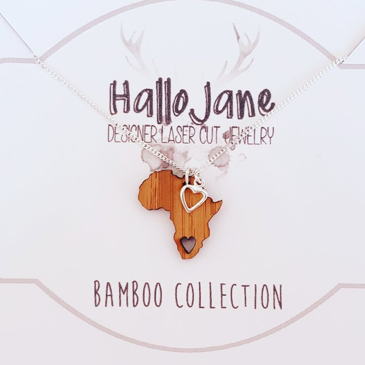 Bamboo Africa Necklace with Sterling Silver Heart by HALLO JANE