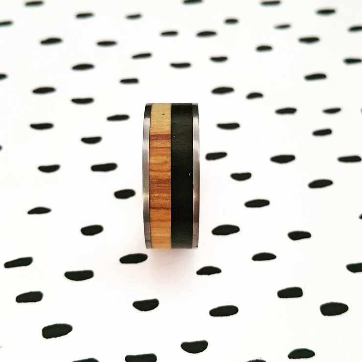 Titanium and two tone wood inlay ring by Rings & Things