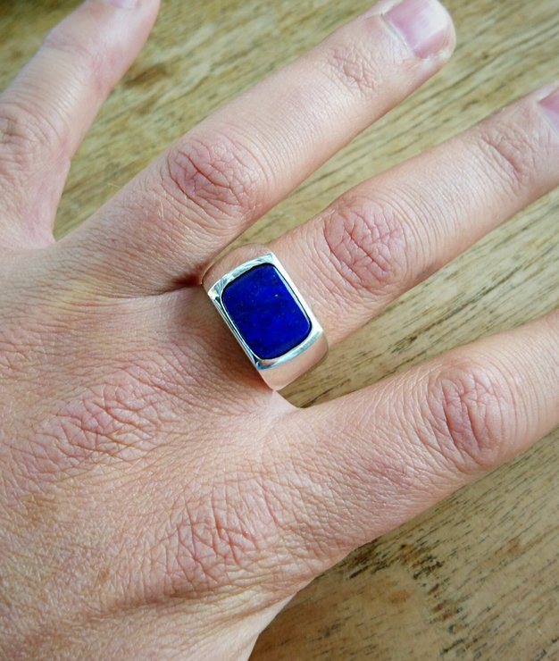 12bb5cd48299f Men's Lapis Lazuli and diamond ring. Sterling Silver. Hand made.