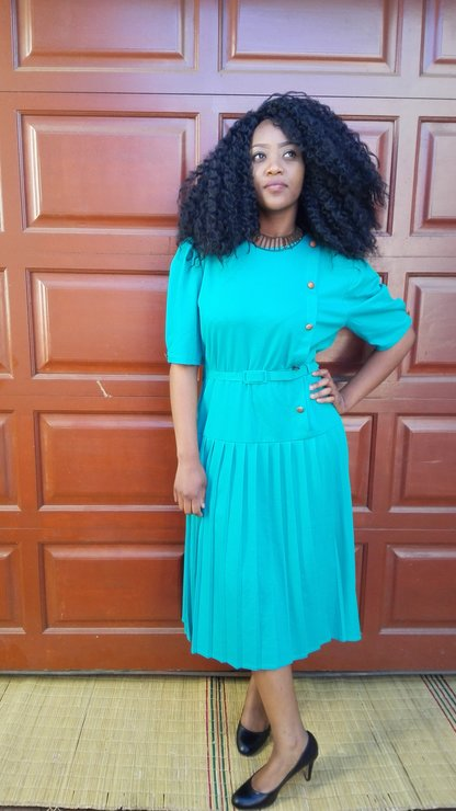 Pleated Turquoise Dress by Tickle_your_vintage