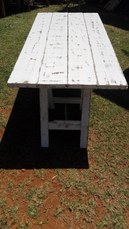 White Wash Pallet Wood Trestle Table By HANDMADE Craft