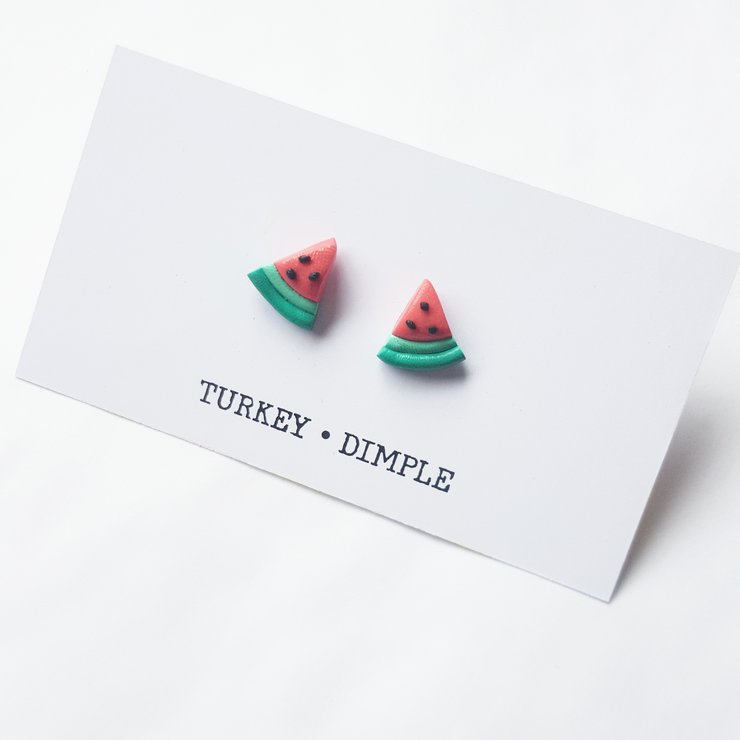 Watermelon stud earrings by turkey dimple