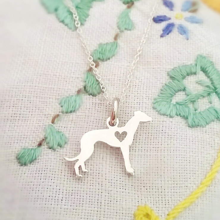 Handmade sterling silver greyhound necklace by GloveJewellery