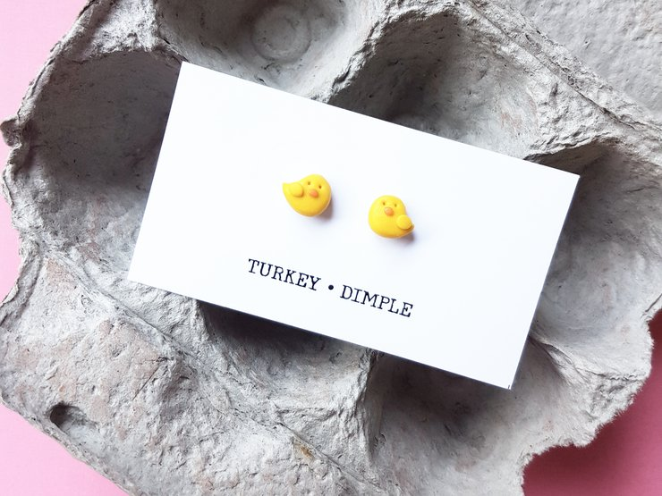 Easter Chick studs by turkey dimple