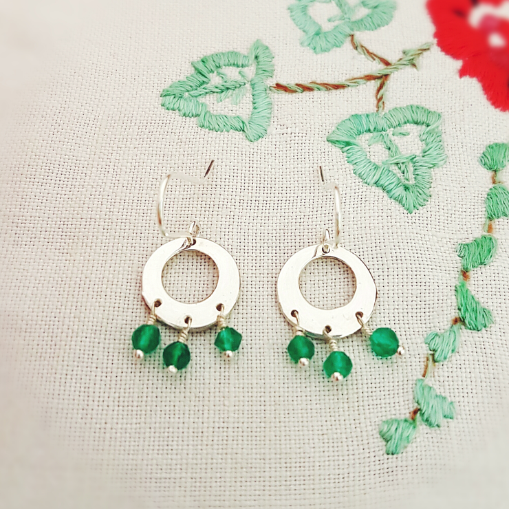 Sterling silver disc with green onyx beads earrings by GloveJewellery